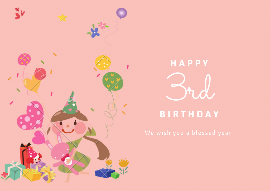 Happy 3rd birthday wishes for baby boy and baby girl